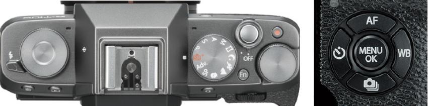 画像: 上面右端のメインコマンドダイヤルは、露出補正などの操作が可能。背面のセレクターボタン(写真右)は、4機能呼び出しや、AFエリア移動に使用する。