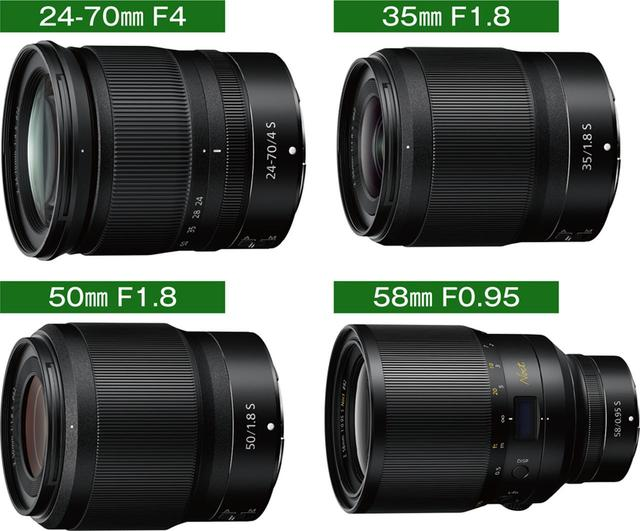 画像: 今回発表されたレンズは4本。ただし、F1.0を切る「NIKKOR Z 58㎜ f/0.95 S Noct」は2019年の発売となる。2021年までに今回発表の4本を含む12本のNIKKOR Zレンズがリリースされる予定。