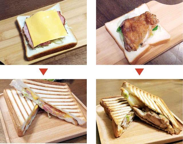 画像: (左)厚切りベーコンとチェダーチーズ (右)鶏もも肉の照り焼きチキン どちらも、肉をフライパンで少し焼いて、味付けをしてから、食パンに乗せて挟むだけと簡単。焼き上がり時間は3〜4分程度と短いので、朝でも昼でも、気軽に使えそうだ。