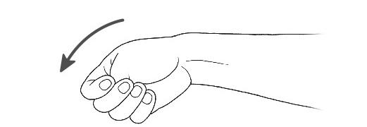 画像: ③ひじを伸ばした状態で手首を小指側に曲げる