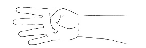 画像: ①手の親指を手のひら側に曲げる