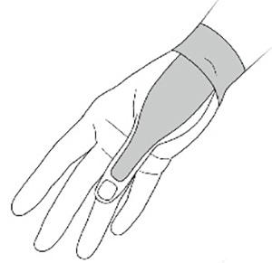 画像: ②Bのテープの裏の紙を真ん中で破ってはがし、テープの両端を引っぱって伸ばす。 テープの伸びた部分を手首のグリグリにやや強く当て、固定できるよう手首の半周を圧迫するように貼り、半周ははがれない程度に軽く貼る