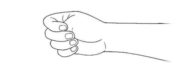 画像1: ②親指を隠すように手を握る