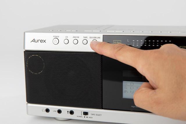 画像: セレクトボタンで「SD/USB/LINE」ボタンを押して、録音メディアを選択。
