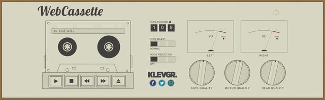 画像: カセットのシミュレーター。イジェクトボタンをクリックして手持ち楽曲を選択。テープポジションやノイズリダクション、ヘッドの品質などを調整できる。