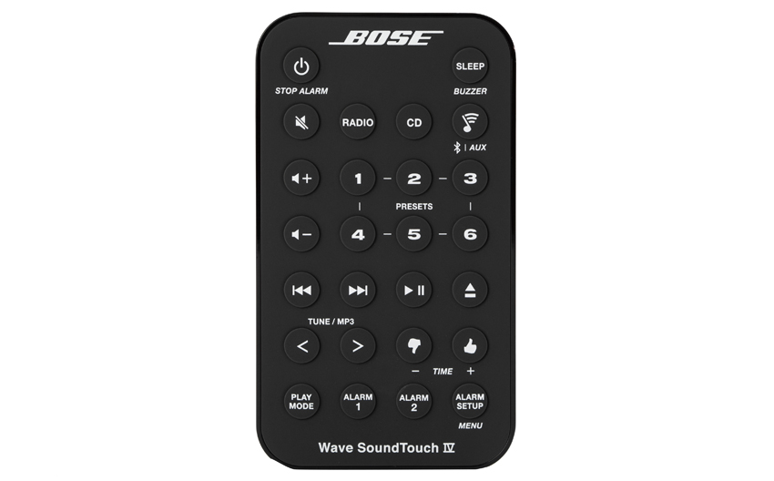 画像: カード型のリモコン。音量操作からタイマー設定まで、すべての機能を操作できる。