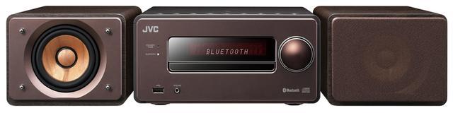 画像: 木を振動板とするウッドコーンスピーカーを採用したミニコンポ。ブルートゥースはNFC対応で、ペアリングや接続が容易。USBメモリーを使えば、ハイレゾ音源の再生も可能。 サイズ CDレシーバー:幅21.9㎝×高さ11㎝×奥行き28.9㎝ スピーカー:幅14㎝×高さ11㎝×奥行き27.7㎝、重量 CDレシーバー:2.1kg スピーカー:2㎏(1台)、実用最大出力 25W+25W(4Ω) ドライブ:CD CD-R/RW、ラジオ:AM/FM ワイドFM、対応ハイレゾ:PCM 192/24、ブルートゥース:SBC/AAC