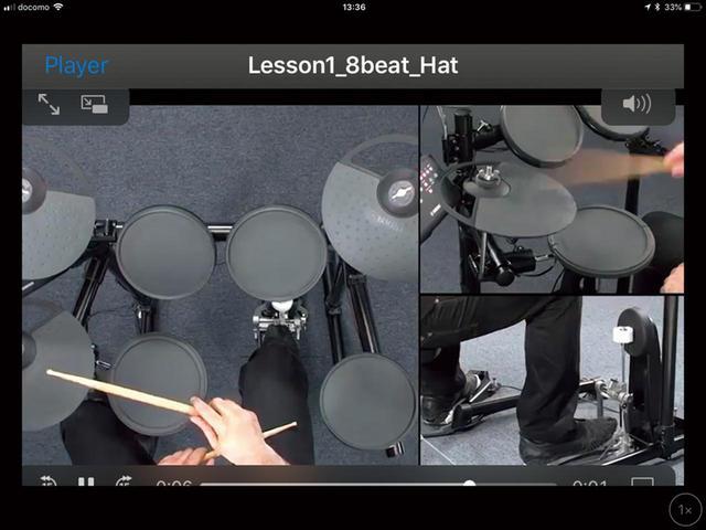 画像: 上の画面の中にあるムービーマークをタップすると、実際にドラムを叩いている動画が再生される。スティックやフットの動きが見られるので、こちらも参考になる。