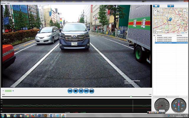 画像: リアカメラの記録映像を専用のパソコンアプリで再生。GPS情報による地図画面と連動した再生が可能。