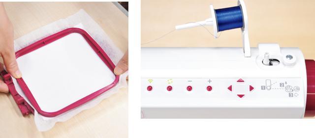画像: 芯地を貼った布を刺繍枠にセット。外枠は布の厚みに合わせて調節可。