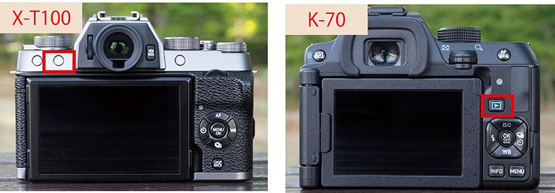 画像: 背面ボタンの配置は、一見すると似ているが、十字ボタンの形状や割り当て機能は異なる。また、再生ボタンの位置も違う(X-T100は左上、K-70は右側)。