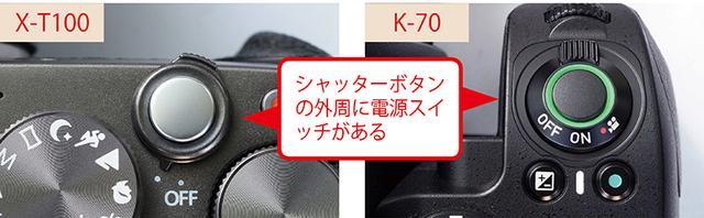 画像: X-T100もペンタックスK-70も、シャッターボタンの外周に電源スイッチが設置されている。ただし、ボディのグリップ部の有無により、シャッターボタンの位置は異なる。