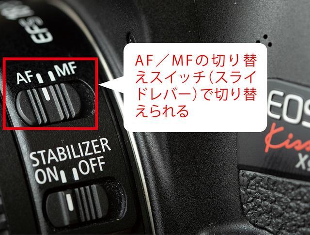 画像: レンズ取り付け部周辺(またはレンズそのもの)にあるAF/MFの切り替えスイッチをAF側にしておこう。