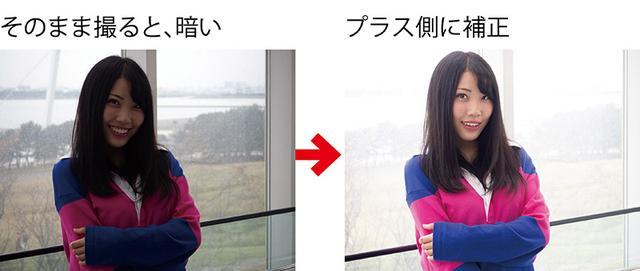 画像: 逆光だと、人物の顔が暗く写りがち(左)。「+1.3」の露出補正で、顔を明るく描写。背景は白っぽくなるが、人物が引き立つ(右)。