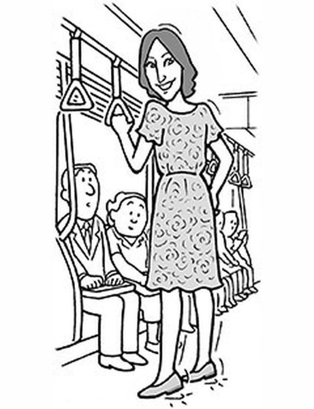画像: 電車の中でかかと落とし!