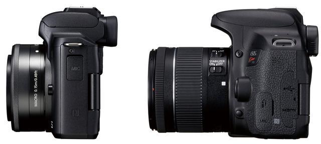 画像: 左はキヤノンのEOS Kiss M(ミラーレス一眼)、右は同EOS Kiss 9Xi(一眼レフ)。ボディの薄さの差は一目瞭然だ。