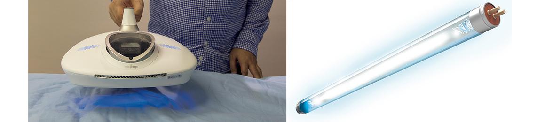 画像: レイコップの特徴であるUVランプ。波長253.7ナノメートルの紫外線(UV-C)をふとんに照射することで、細菌とウイルスを除去。ダニの活動も抑制する。
