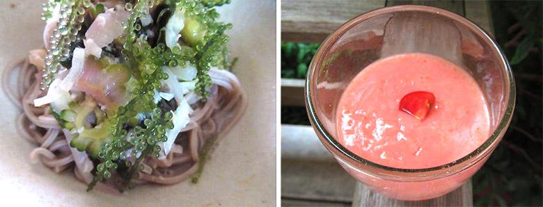 画像: 田町さんのミキを使ったレシピ。ゴーヤの水キムチをのせたそば(写真左)、ミキのトマトスムージー(写真右)