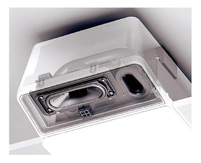 画像: 専用に開発されたブルートゥース対応スピーカー。取り付け角度にもこだわり、部屋が音に包まれるよう配置されている。