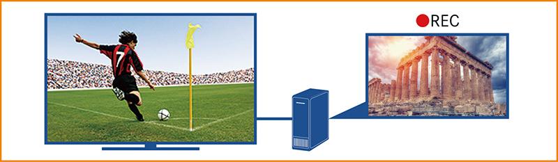 画像: 新4K放送を楽しみながら、同時放送中の4K放送の番組を外付けHDDに録画することができる。