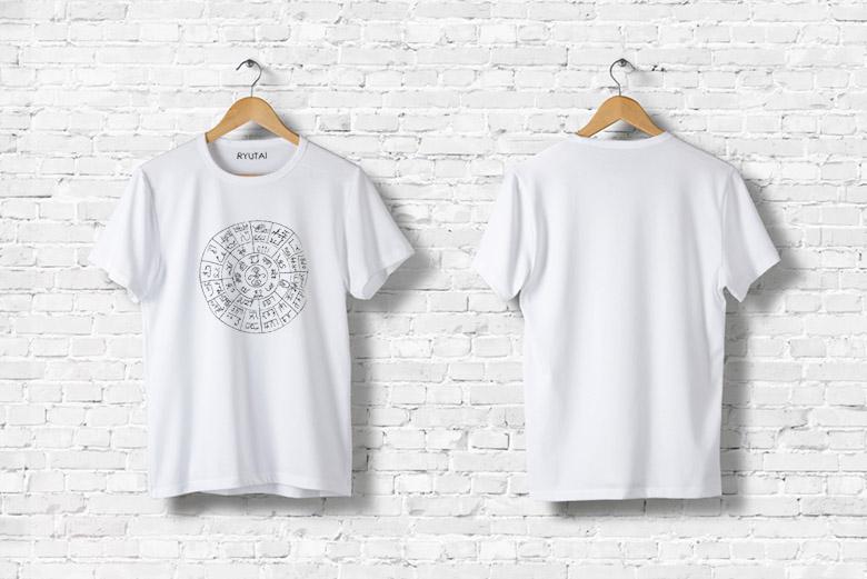 画像: 龍体文字 Tシャツ(白)フトマニ図