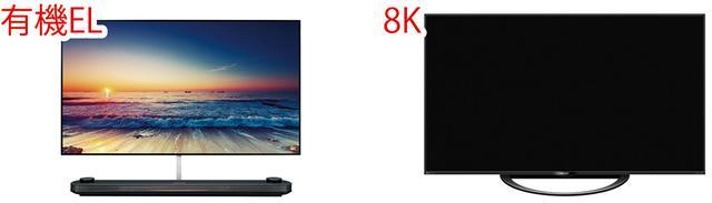 画像: ※写真は、LG・OLED77W8P(左)、シャープ・8T-C70AX1(右)。