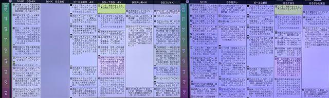 画像: EPG(電子番組表)を表示させたところ。左はBS4K放送、右は従来のBS2K放送で、NHKは完全に別編成だが、民放はほぼサイマル(同時刻に同編成)放送だ。左のBS8Kチャンネルは、受信できないので空欄となっている。