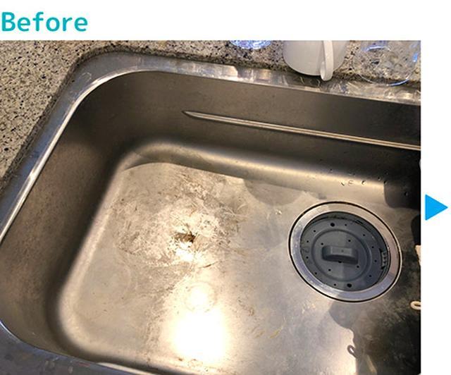 画像: シンクにこびりついた水垢も…
