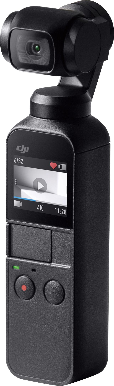 画像: グリップ部が手のひらに収まるコンパクトサイズ。上部のアームが3軸ジンバルで、そこに4Kカメラを装備。モニターは1型のタッチパネルになっており、操作系はシンプル。バッテリーはフル充電で140分の撮影が可能(充電時間は73分)。本体サイズ・重量は、幅36.9ミリ×高さ121.9ミリ×奥行き28.6ミリ・116グラム。