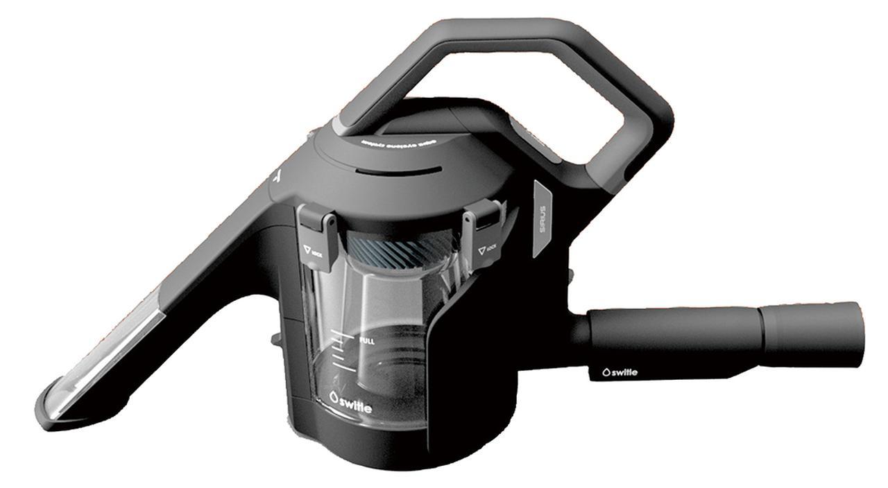 画像: キャニスター掃除機につないで使う水洗いツール。特許の独自構造により、吸い取った水は汚水タンク内に、空気は掃除機本体に流れる。液体や個体、ゲル状のものも吸引可能。