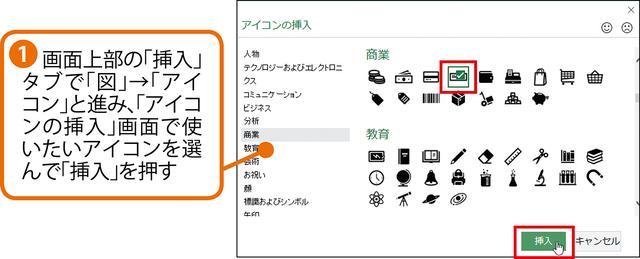 画像1: エクセルのアイコン機能で簡易イラストを挿入する