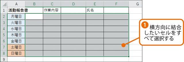 画像1: エクセルで行単位で複数のセルを結合する