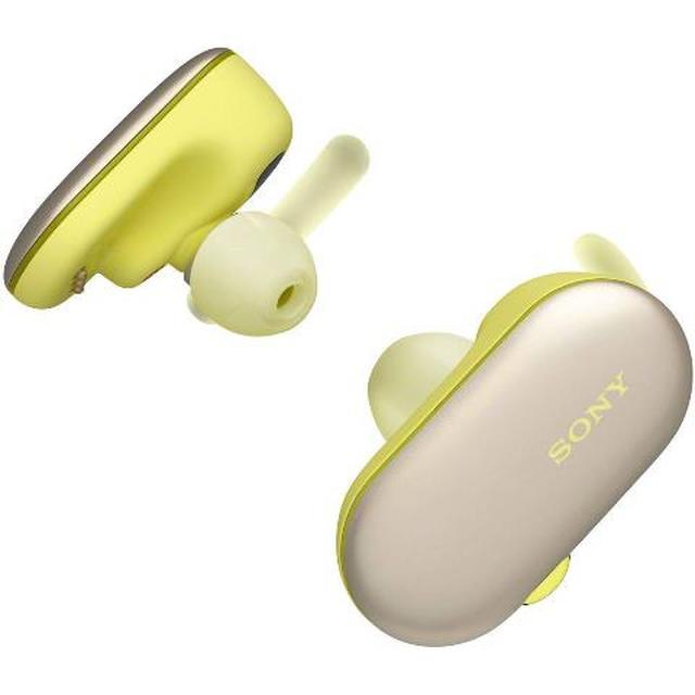 画像: 音楽プレーヤー機能も内蔵した防水性能の高い「WF-SP900」(イエロー)。 www.amazon.co.jp