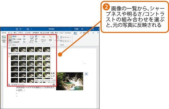 画像2: 挿入した画像の明るさやコントラストを調整する