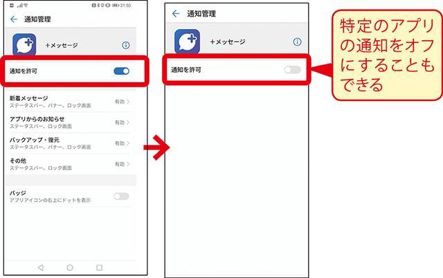 画像: ②すべての通知をオフにするには「通知を許可」をオフにする。特定のアプリの決まった通知だけを有効にすることもできる。