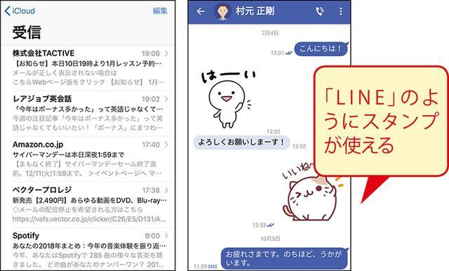 画像: Eメールは複数のメールアカウントを設定でき、パソコンと同じ感覚で使える(画面左)。 SMSを拡張した「+メッセージ」はSNSを意識した使い勝手が特徴(画面右)。