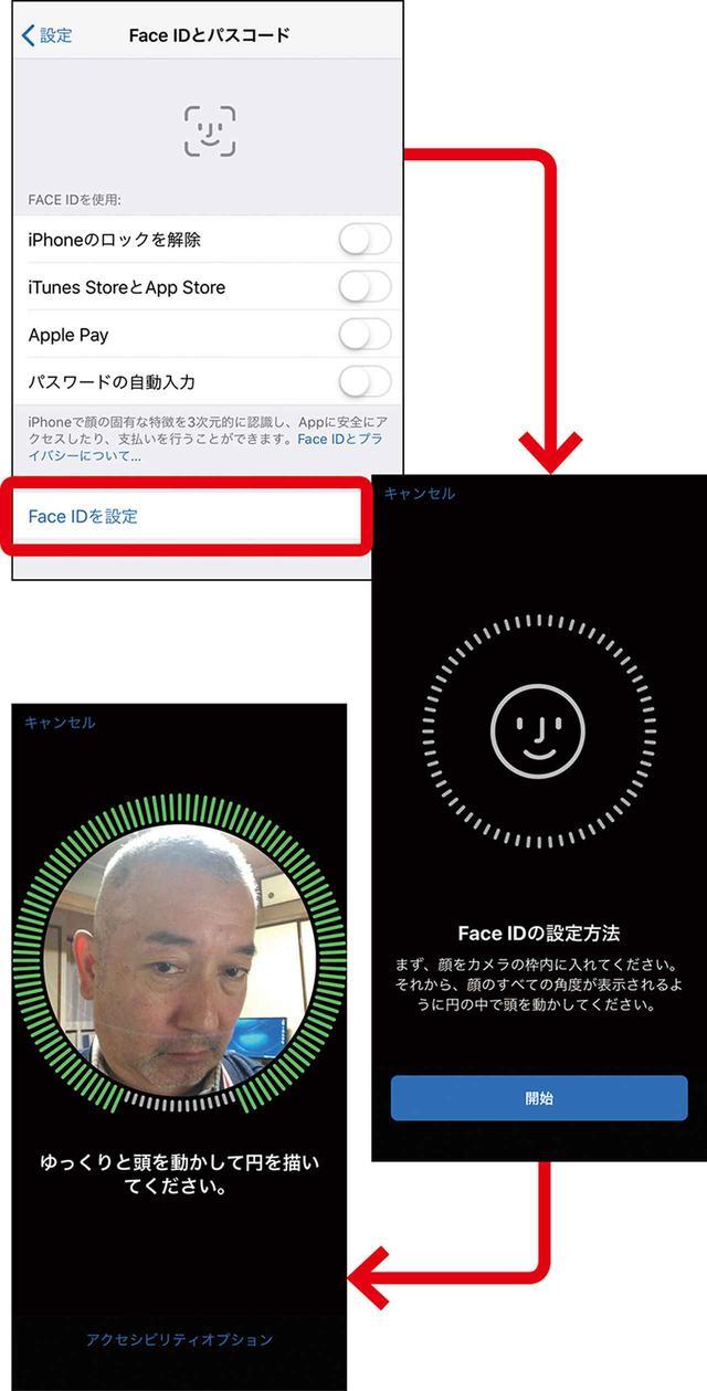 画像: iPhoneの「Face ID」は、顔の向きを変えて、顔を立体的にとらえて登録。赤外線や3Dセンサーによって実現している。