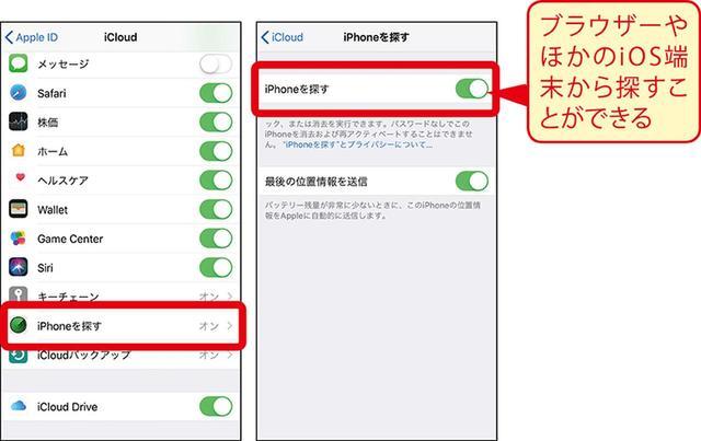 画像: Phoneでは、「設定」から自分のアカウント画面を開いて、「iCloud」→「iPhoneを探す」を選択して、オンにしておこう。