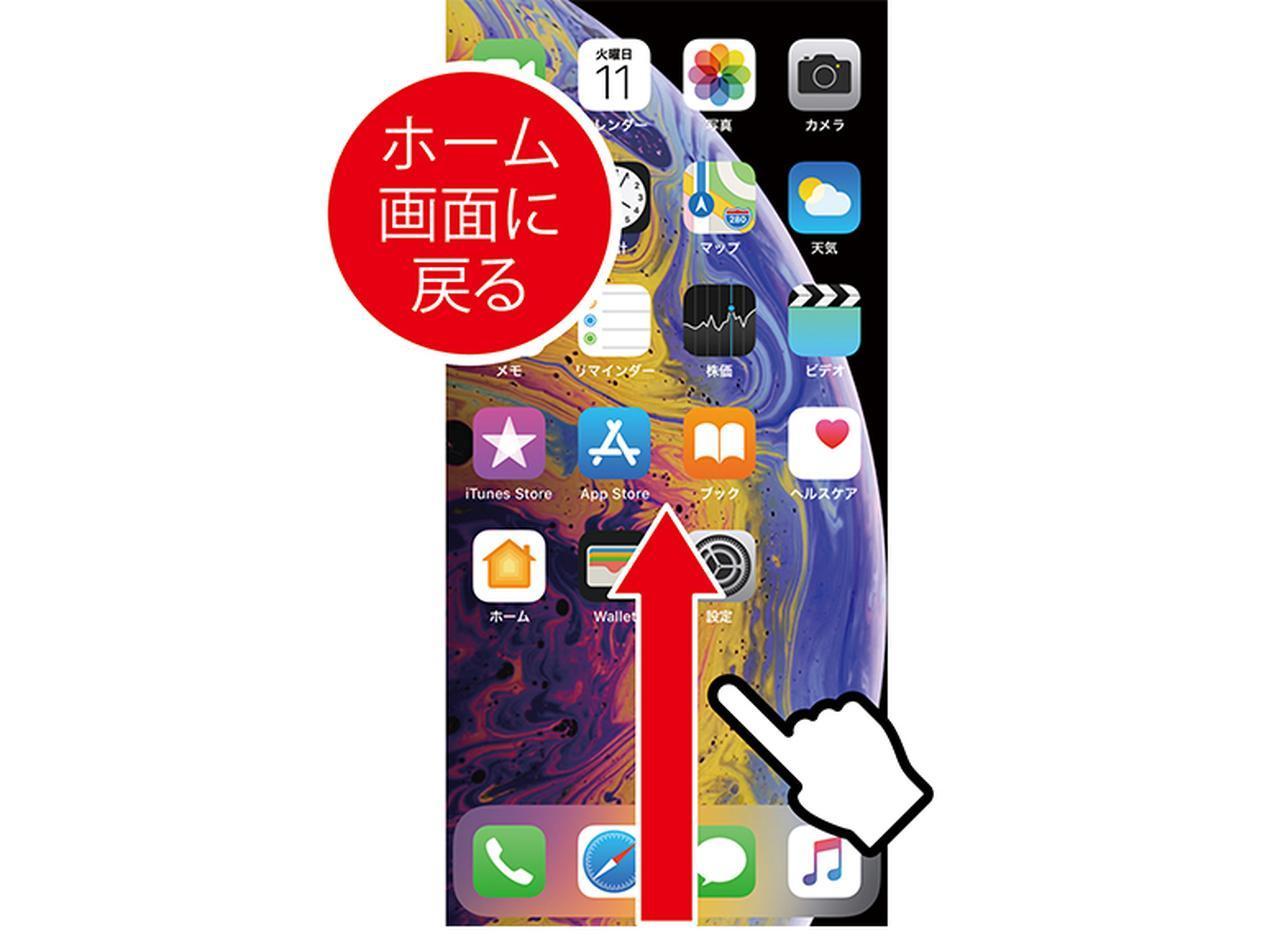 画像: ホームボタンがないiPhoneXシリーズでは、画面下端から上にスワイプすると、ホーム画面に戻せる。