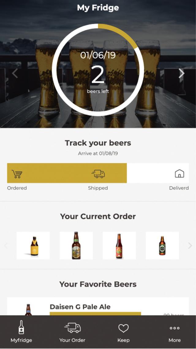 画像: 専用アプリで冷蔵庫内のクラフトビールの在庫だけでなく、新たに届くクラフトビールの配送状況も確認できる。注文したいビールセットを選ぶことも可能だ。
