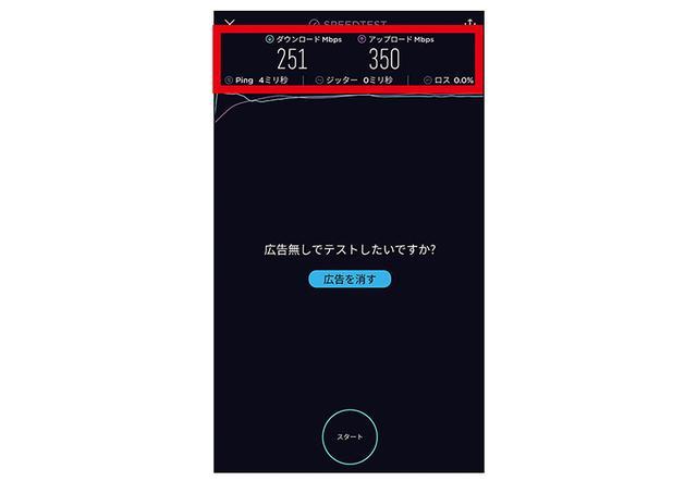 画像: スマホアプリを使ってネット回線の速度を調べ、十分な速度が出ていればWi-Fiの性能は発揮できていると判断する。