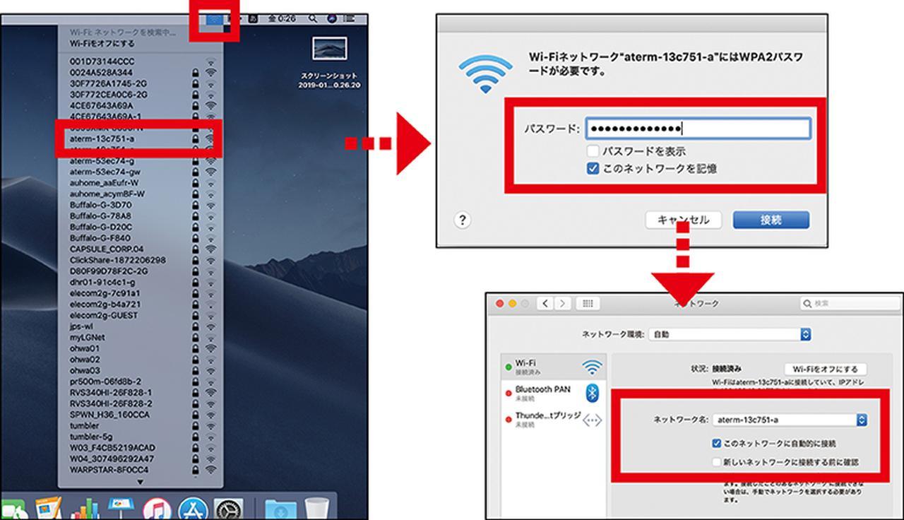 画像: Macはデスクトップ上端のメニューバーのWi-Fiアイコンをクリックし、SSIDの選択とパスワード入力を行う。