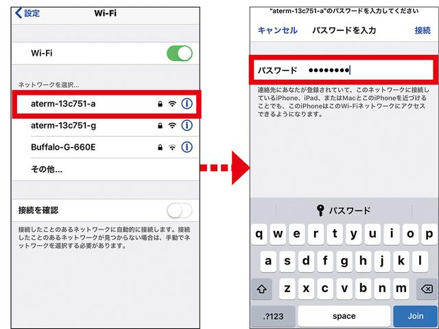 画像: iPhoneは、原則として手動設定のみ。「設定」→「Wi-Fi」で上記でメモした「SSID」を選択して、「パスワード」(暗号化キー)を入力する。