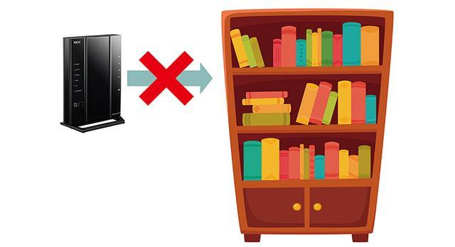 画像: 本棚やカラーボックス、ガラスドアで密閉された狭い空間などは、排熱できないので厳禁だ。