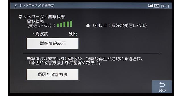 画像: Wi-Fiで接続したら、電波状態(受信レベル)がテレビ画面上に表示される。