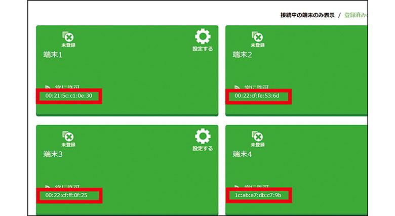 画像: 多くのWi-Fiルーターは、接続した端末のMACアドレスを調べることができる(赤枠がMACアドレス)。NECのAtermの場合、この画面で、接続実績のある機器のMACアドレスがわかる。