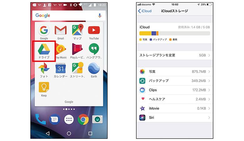 画像: Android(左)、iOS(右)。AndroidスマホならGoogleドライブを、iPhoneならiCloudを特別な準備なしで利用可能。また、他のサービスも、それぞれ無料アプリで利用できる。