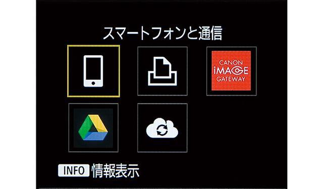 画像: カメラとスマホを接続するには、まず、カメラ本体のWi-Fiボタンを押し、SSIDや暗号化キーを入力して、Wi-Fiルーターとの接続を行う。接続できたら、上の画面で「スマートフォン」のアイコンを選択する。