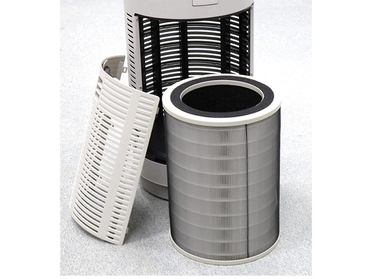 画像: 三つの異なるフィルターを一体にした筒型フィルター。集塵部分には、0.09マイクロメートルの粒子までキャッチできるHEPAフィルターを搭載。活性炭フィルターは、吸着した菌や汚れを光で分解する。【AP-C320シリーズ用フィルター】交換期間:約1年/実売価格例:7830円