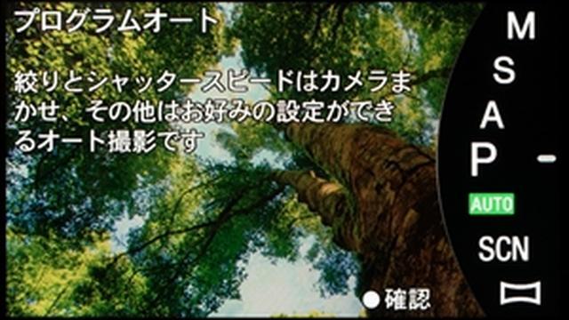 画像: プログラムオートモードのガイド表示。カメラはソニーα6300。